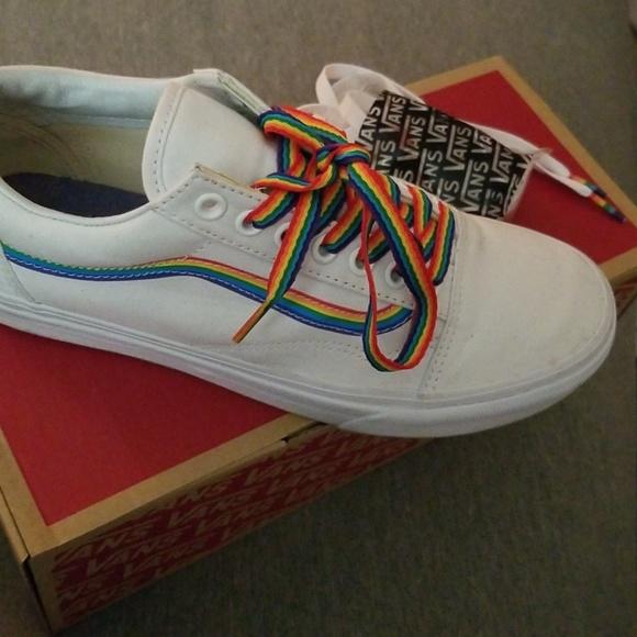 Vans Shoes | Rainbow White Vans | Poshmark